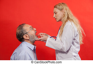 Sore Throat General Practitioner - Adult male with female...