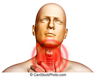 Medical illustration showingt pain located in the throat area. Digital illustration.