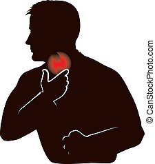 Sore throat - Silhouette of a man with sore throat