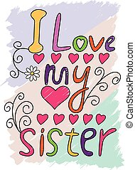 sorella, amore, illustrazione, t-shirt, tipografia, vettore, mio