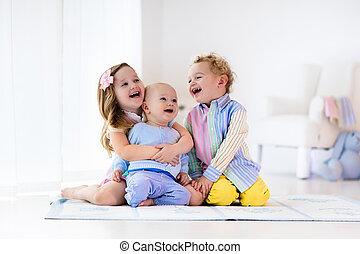 sorella, bambini, amore, fratello, gioco, casa