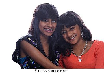 sorelle, due, asiatico