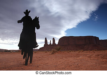sorelle, monumento, silhouette, tre, cowboy