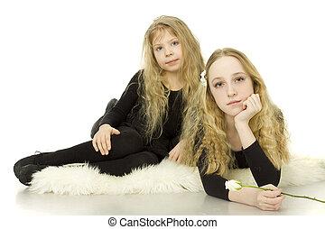 sorelle, ragazze, bianco, -, fondo