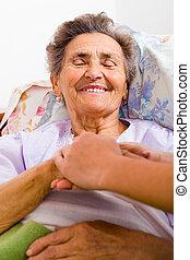 sorgend, krankenschwester, halten hände