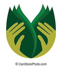 sorgend, leaves., halten hände