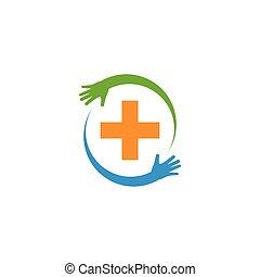 sorgfalt, medizin, logo, gesundheit