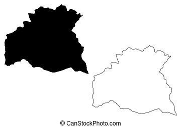 Soriano Department (Departments of Uruguay, Oriental Republic of Uruguay) map vector illustration, scribble sketch Soriano map
