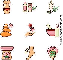 Sorority icons set, cartoon style - Sorority icons set....
