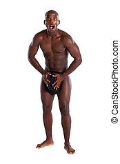 sorprendido, desnudo, africano, desnudo, hombre