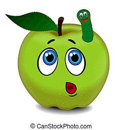 sorprendido, manzana, y, oruga