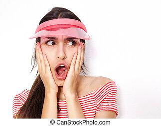 sorprendido, mujer joven, con, boca abre