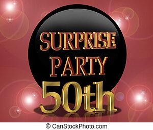 sorpresa, cumpleaños, 50th, invitación, fiesta