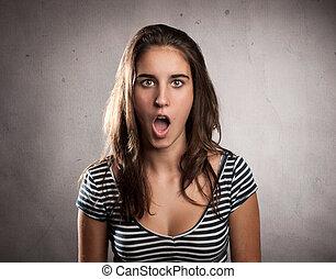 sorpresa, donna, espressione, giovane