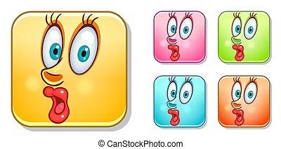 sorpreso, emoticons, collezione