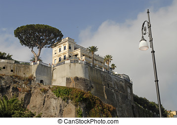 Sorrento, Italy - Beautiful hotel perched on the cliff...