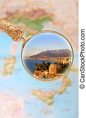 Sorrento Italy - Magnifying glass looking in on Sorrento,...