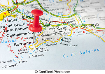 Sorrento On The Map - Sorrento indicated on the map as a ...