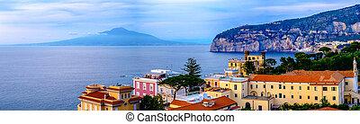 Sorrento panorama, Vesuvius and mediterranean sea. Italy -...