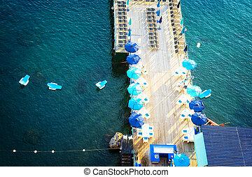 Sorrento, southern Italy - beach of Sorrento aerial view,...