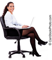 sorridente, affari, laptop, donna
