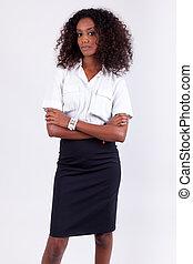 sorridente, americano africano, donna affari