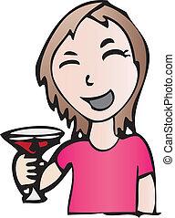 sorridente, bevanda, ragazza