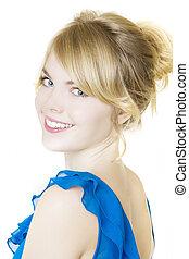 sorridente, biondo, ragazza, in, blu