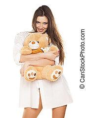 sorridente, brunetta, presa a terra, orso, teddy