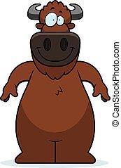 sorridente, bufalo, cartone animato