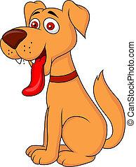 sorridente, cane, cartone animato