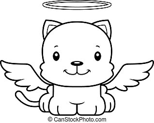 sorridente, cartone animato, angelo, gattino