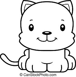sorridente, cartone animato, gattino