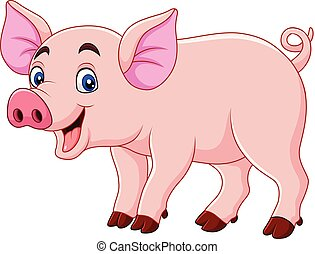 sorridente, cartone animato, maiale