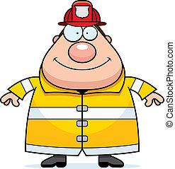 sorridente, cartone animato, pompiere