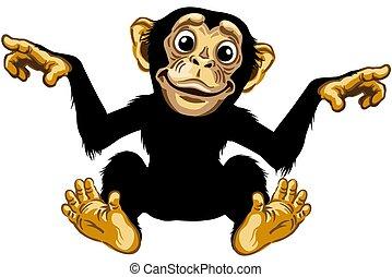 sorridente, cartone animato, scimpanzé
