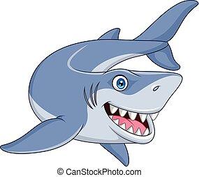 sorridente, cartone animato, squalo