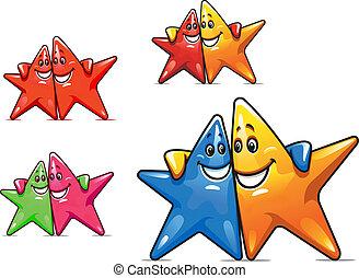 sorridente, cartone animato, stelle