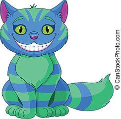 sorridente, cheshire, gatto