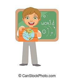 sorridente, colorito, globo, carattere, isolato, nero, lavagna, fondo, bianco, aula, scolaro