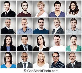sorridente, composizione, attractively, persone