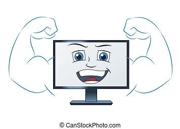 sorridente, computer, potente