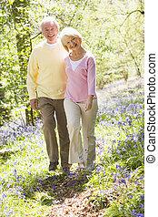 sorridente, coppia camminando, fuori