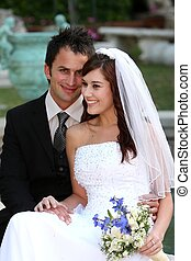 sorridente, coppia, carino, matrimonio