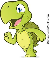 sorridente, correndo, tartaruga