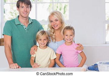 sorridente, cottura, famiglia