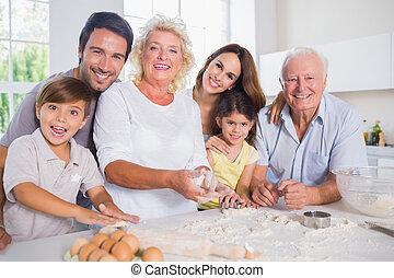 sorridente, cottura, famiglia, insieme