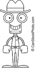 sorridente, cowboy, robot, cartone animato