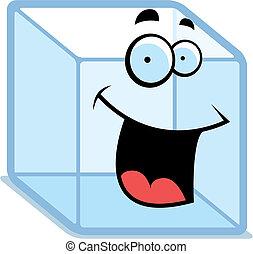sorridente, cubo, ghiaccio