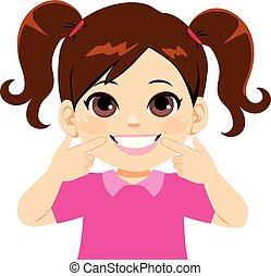 sorridente, dolce, piccola ragazza, denti